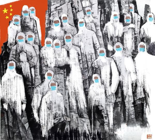 12福建--赵曙合--抗击疫情-赵曙合-40x40-漫画坚如铁壁-13763884840-平潭翰英中学.jpg